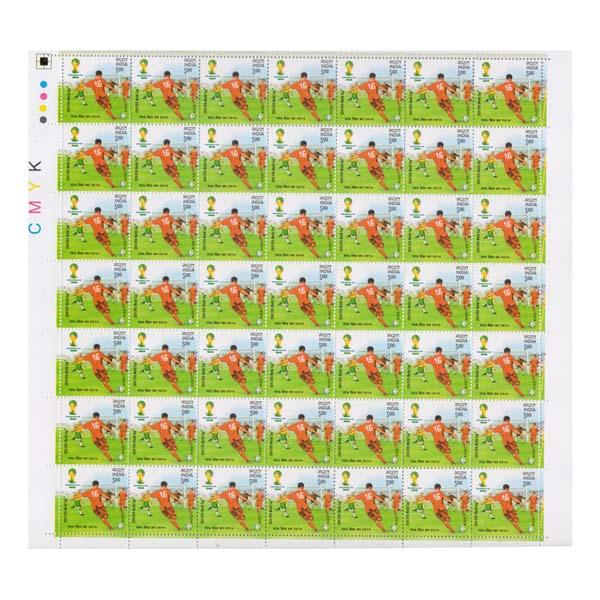 Fifa World Cup Brazil  Kicking Full Stamp Sheet 5Rs - 2014