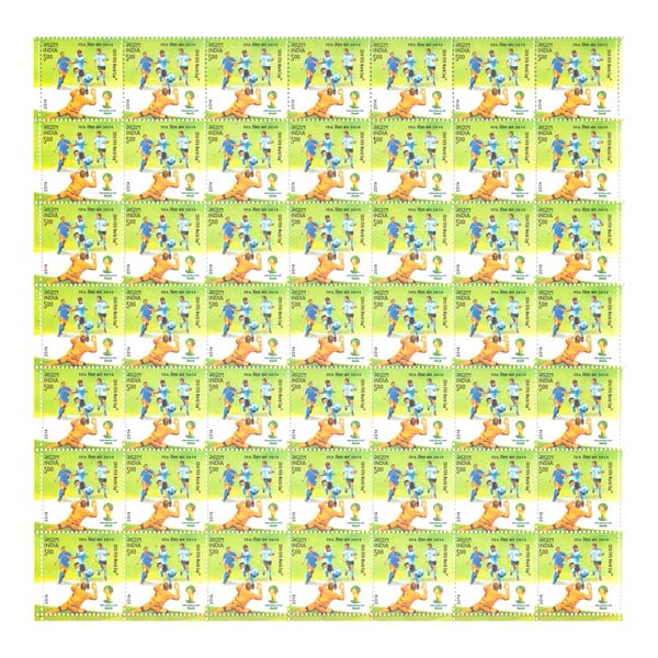 Fifa World Cup Brazil Football Catching Full Stamp Sheet 5Rs - 2014