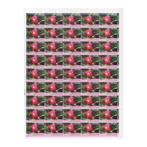 Orchid - Cypripedium Himalacium Full Stamp Sheet 25Rs - 2016