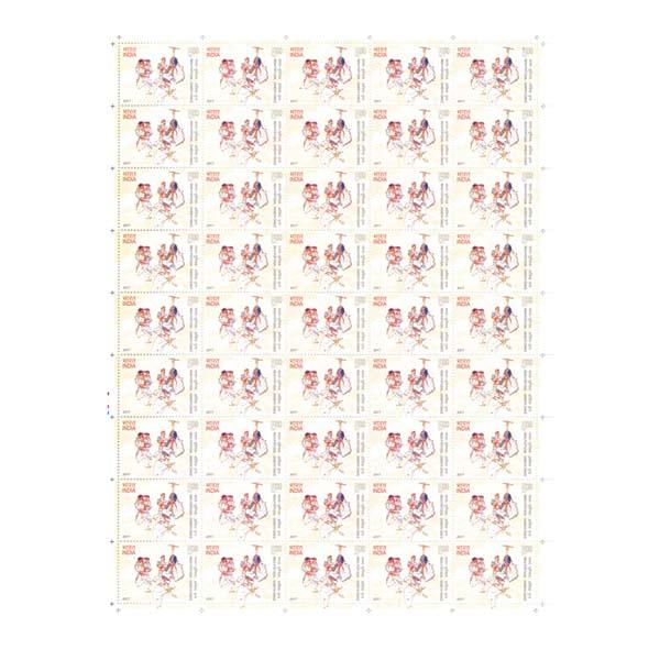 India-Portugal  Dandiya Dance Full Stamp Sheet 5Rs - 2017