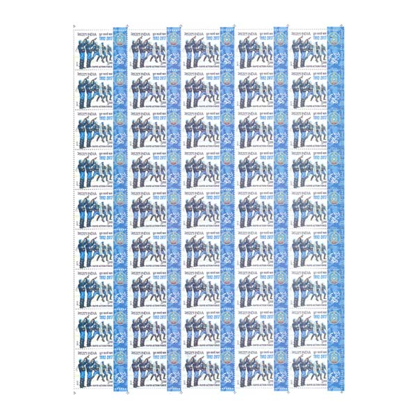 Rapid Action Force Full Stamp Sheet 5Rs - 2017