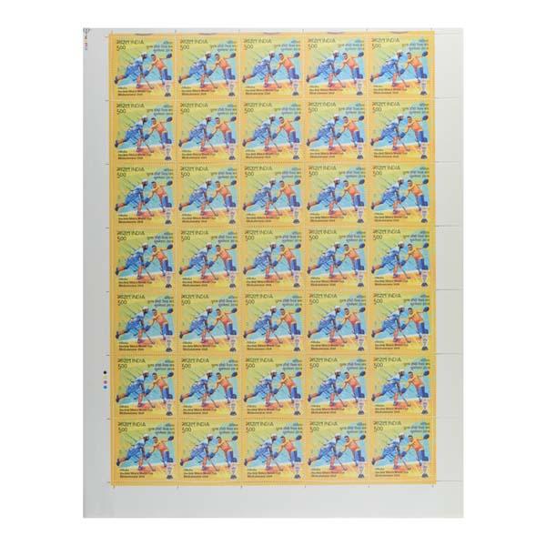 Odisha Hockey Mens World Cup Full Stamp Sheet 5Rs - 2018 Blue Yellow Team