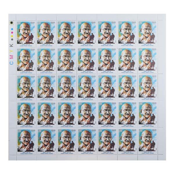 Ahimsa Parmo Dharma Mahatma Gandhi Full Stamp Sheet 15Rs - 2019