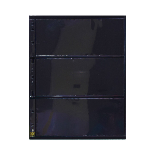 Lighthouse Plastic pockets GRANDE - three way division - black