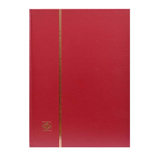 Lighthouse Stockbook A4- 16 White Pages- Nonpadded Cover- Red