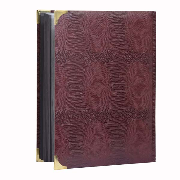 Lighthouse Deluxe Stockbook A4- 64 black pages- Padded Cover- Crocodile Look Metal Corners- Red