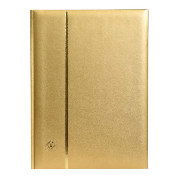 Lighthouse Stockbook A4- 64 Black Pages- Padded Metallic Cover- Gold