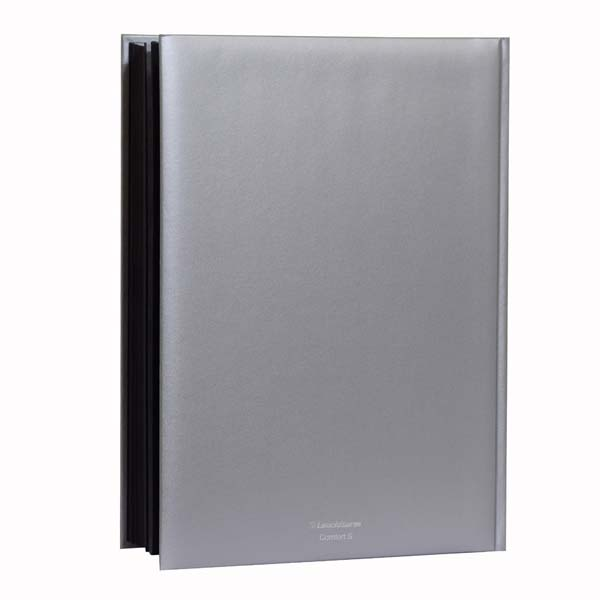 Lighthouse Stockbook A4- 64 Black Pages- Padded Metallic Cover- Silver