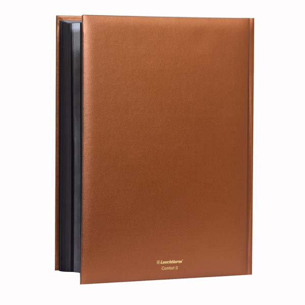 Lighthouse Stockbook A4- 64 Black Pages- Padded Metallic Cover- Bronze