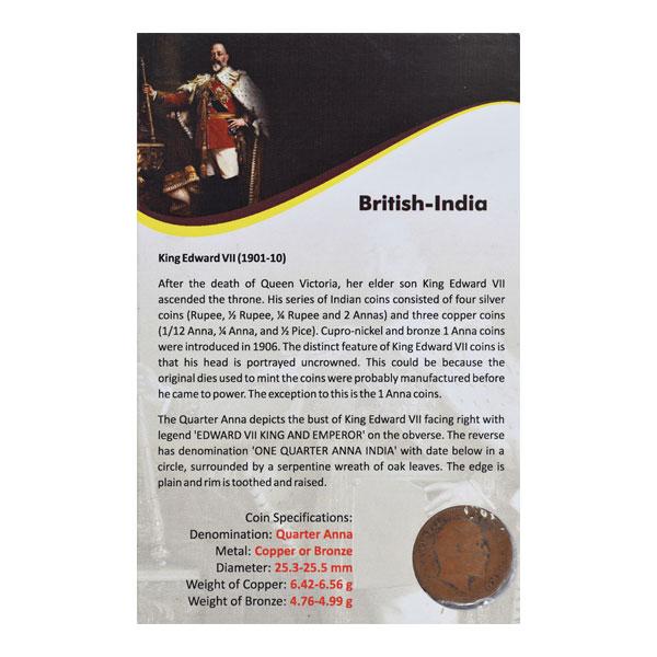 British India King Edward VII Quarter Anna 1908 Calcutta