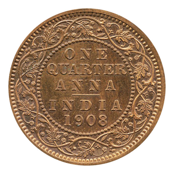 British India King Edward VII Quarter Anna 1908 Calcutta