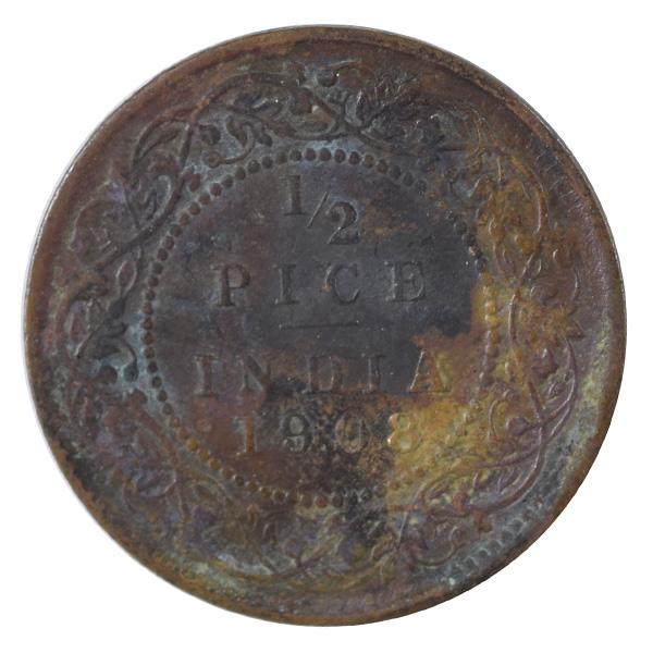 British india King edward VII - 1/2 Pice Coin 1908 calcutta