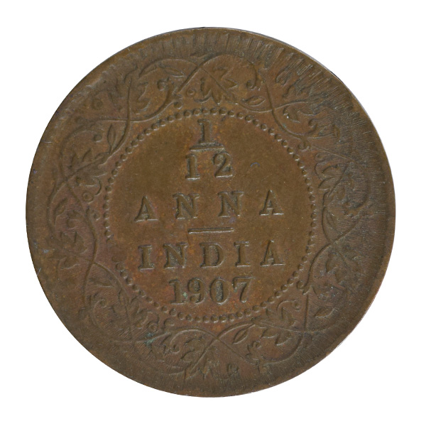 British india King edward VII - 1_12 Anna 1907 calcutta