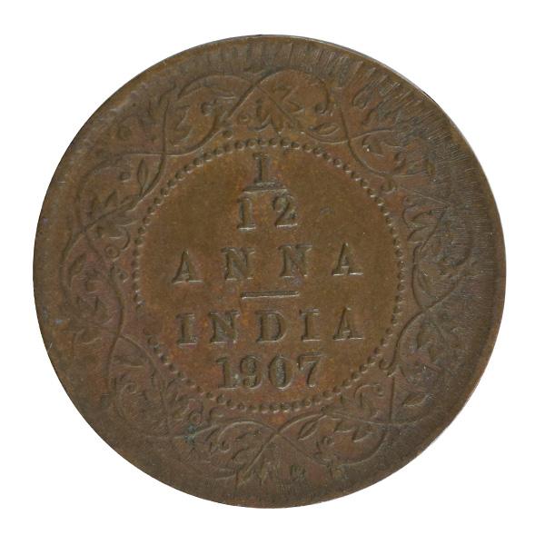 British india King edward VII - 1/12 Anna Coin 1907 calcutta