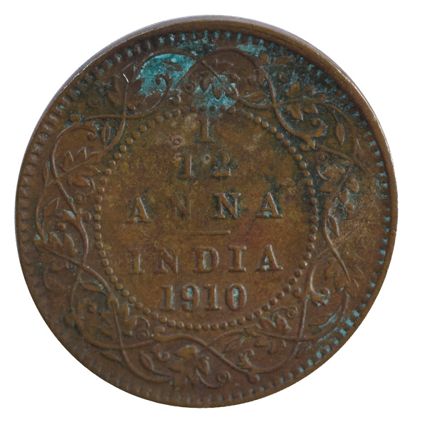 British india King edward VII - 1/12 Anna Coin 1910 calcutta