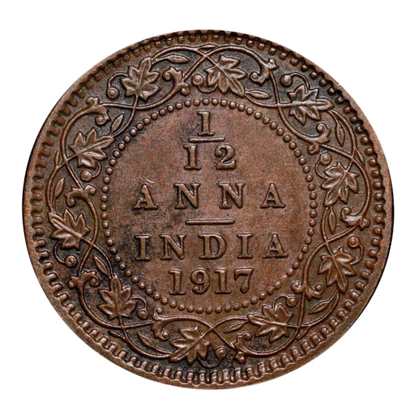 British India King George V 1/12 Anna Coin 1917 Calcutta