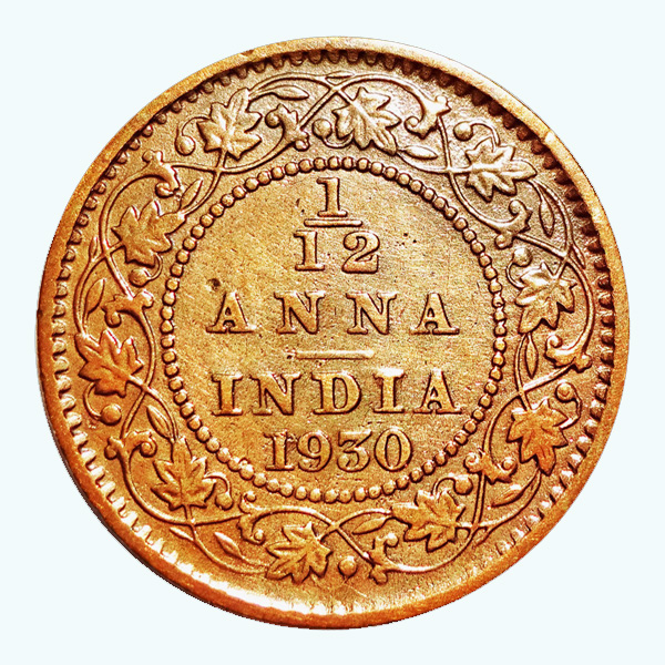 British India King George V 1/12 Anna Coin 1930 Calcutta