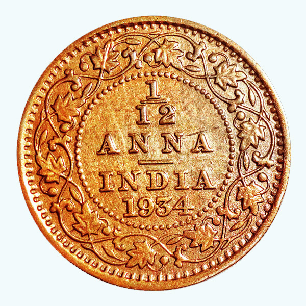 British India King George V 1/12 Anna 1934 Calcutta