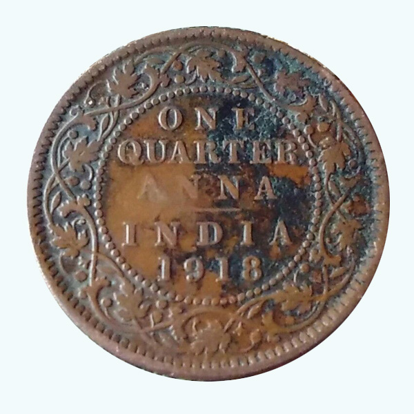 British India King George V Quarter Anna Coin 1918 Calcutta