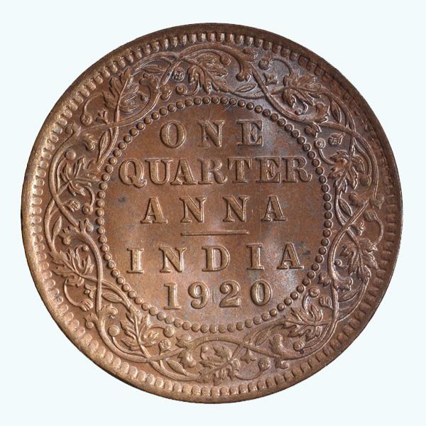 British India King George V Quarter Anna Coin 1920 Calcutta