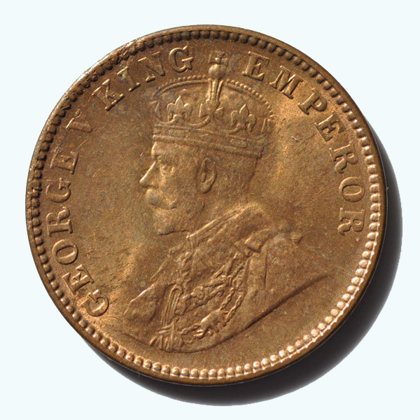 British India King George V Quarter Anna 1928 Calcutta
