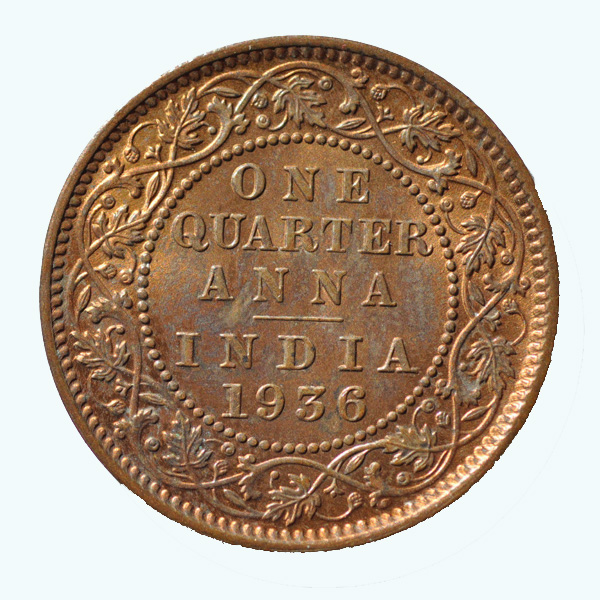 British India King George V Quarter Anna 1936 Calcutta