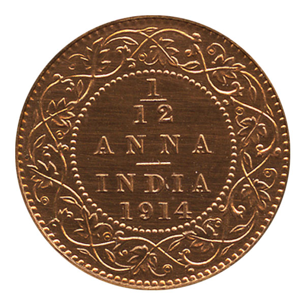 British India King George V 1/12 Anna Coin 1914 Calcutta