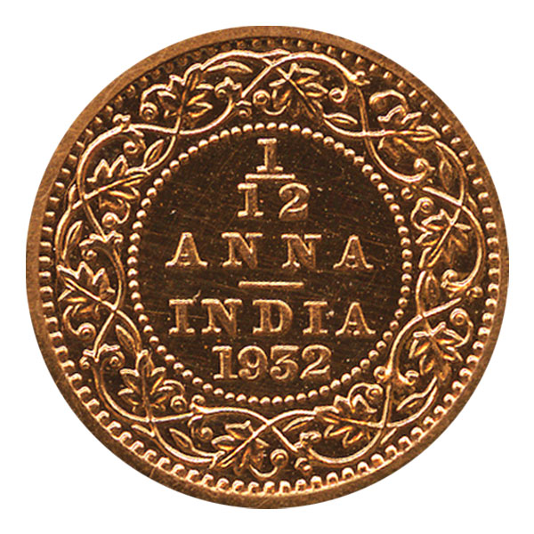 British India King George V 1/12 Anna Coin 1932 Calcutta