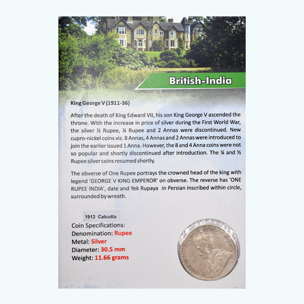 British India King George V One Rupee Coin 1913 Calcutta