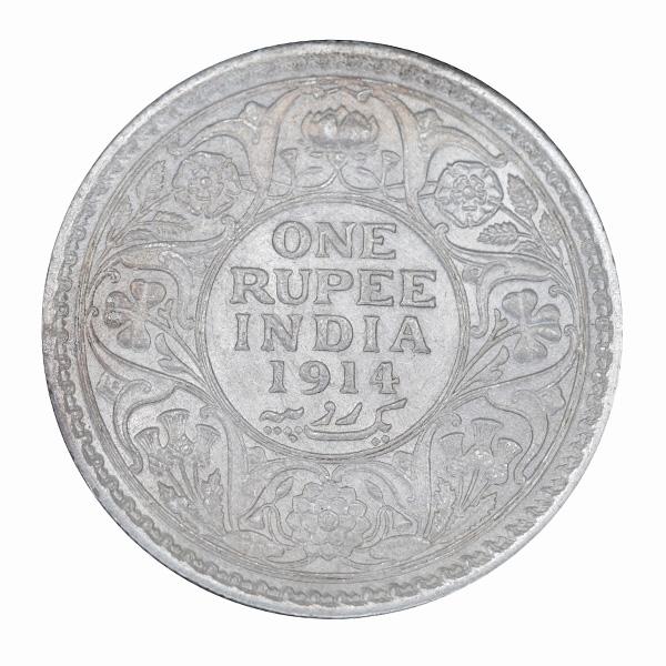 British India King George V One Rupee Coin 1914 Calcutta