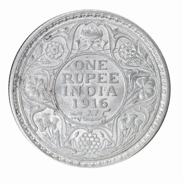 British India King George V One Rupee 1916 Calcutta