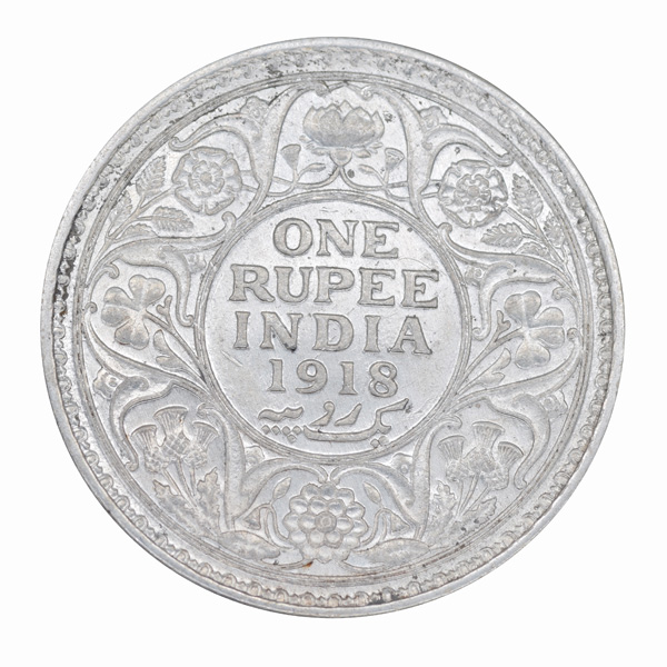 British India King George V One Rupee 1918 Calcutta