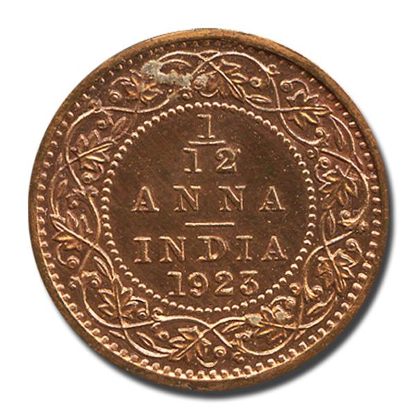 British India King George V One-twelth Anna 1923 Calcutta