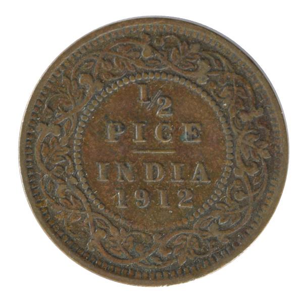 British india King George V - 1/2 Pice Coin 1912 calcutta