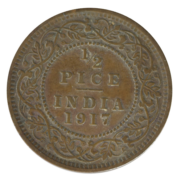 British india King George V - 1_2 pice 1917 calcutta