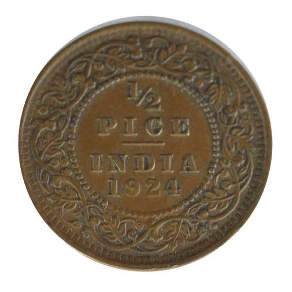 British india King George V - 1/2 pice Coin 1924 calcutta