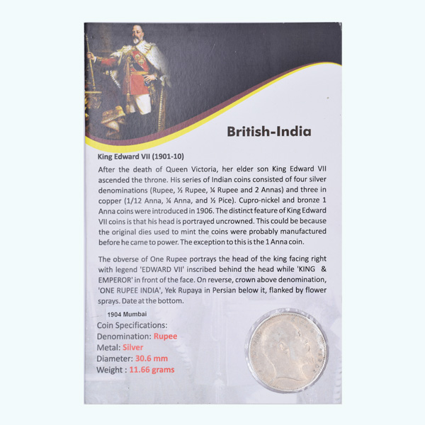 British India King Edward VII One Rupee 1904 Bombay