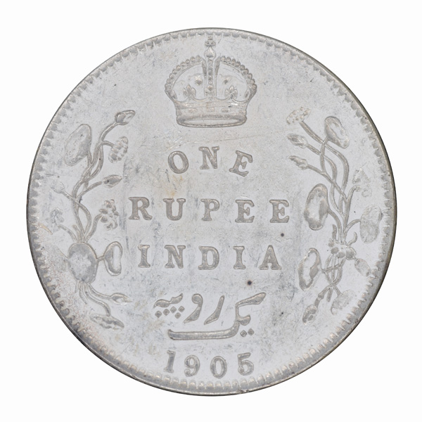 British India King Edward VII One Rupee 1905 Bombay