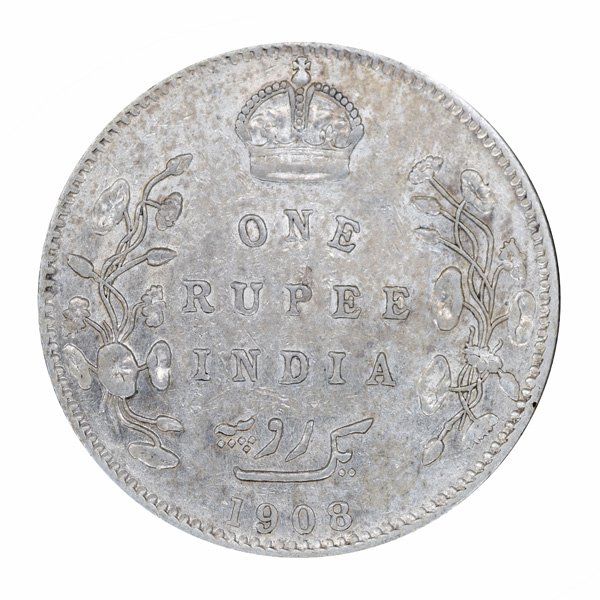 British India King Edward VII One Rupee 1908 Bombay