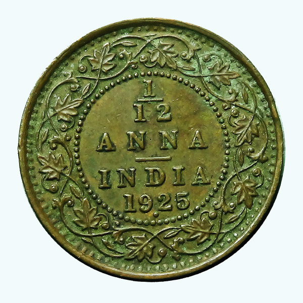 British India King George V 1/12 Anna Coin 1925 Mumbai