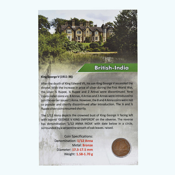 British India King George V 1/12 Anna Coin 1926 Mumbai
