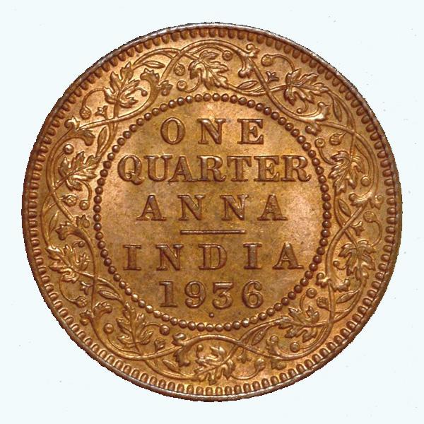 British India King George V Quarter Anna 1936 Mumbai