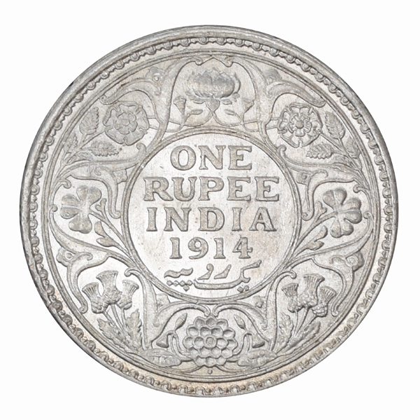 British India King George V One Rupee Coin 1914 Bombay