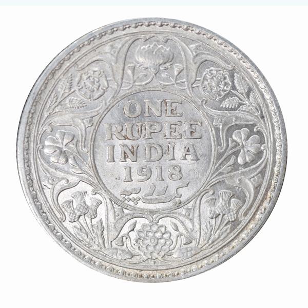 British India King George V One Rupee Coin 1918 Bombay