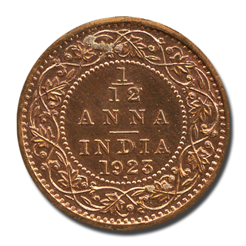 British India King George V One-twelth Anna 1923 Bombay