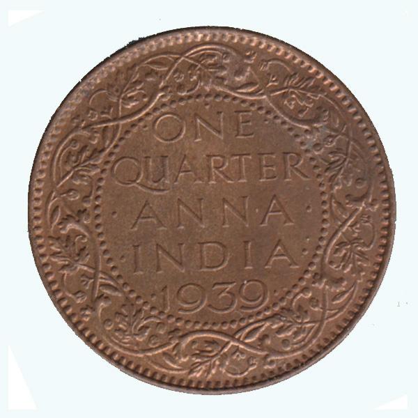 British India King George VI Quarter Anna 1939 Mumbai