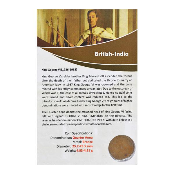 British India King George VI Quarter Anna Coin 1938 Mumbai