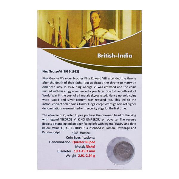 British India King George VI Quarter Rupee Coin 1946 Bombay