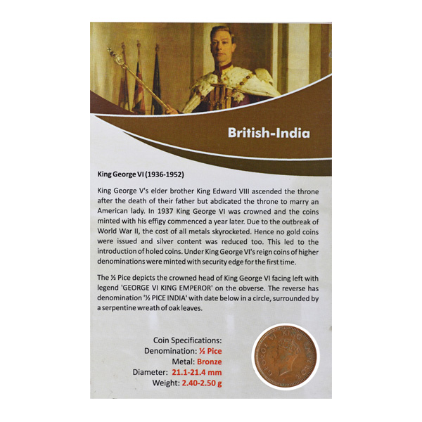 British India King George VI - 1/2 Pice 1939 Bombay