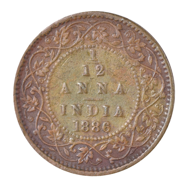 British India Victoria Empress - 1/12 Anna 1886 Calcutta